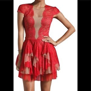 BCBMAXAZRIA party dress in red lace